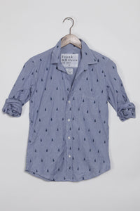 "Frank and Eileen ""Barry"" Button Down in Navy Stripe with Sail Boats"