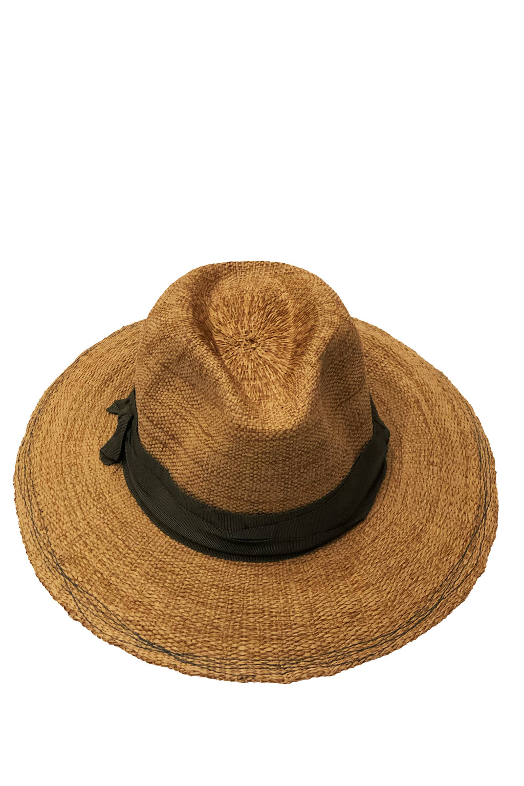 Lola Ehrlich Risa and Shine Straw Hat in Tabacco with Seaweed Ribbon