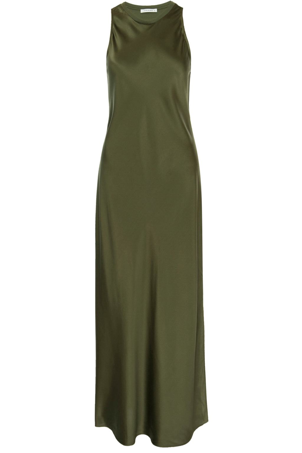 Frame Bias Maxi Dress In Military Green