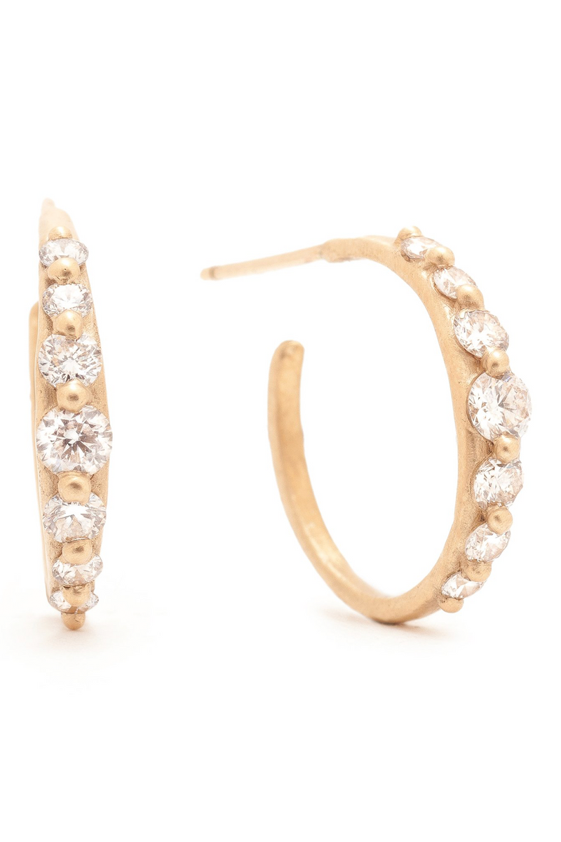 Valley Rose Juno Hoops in Diamonds