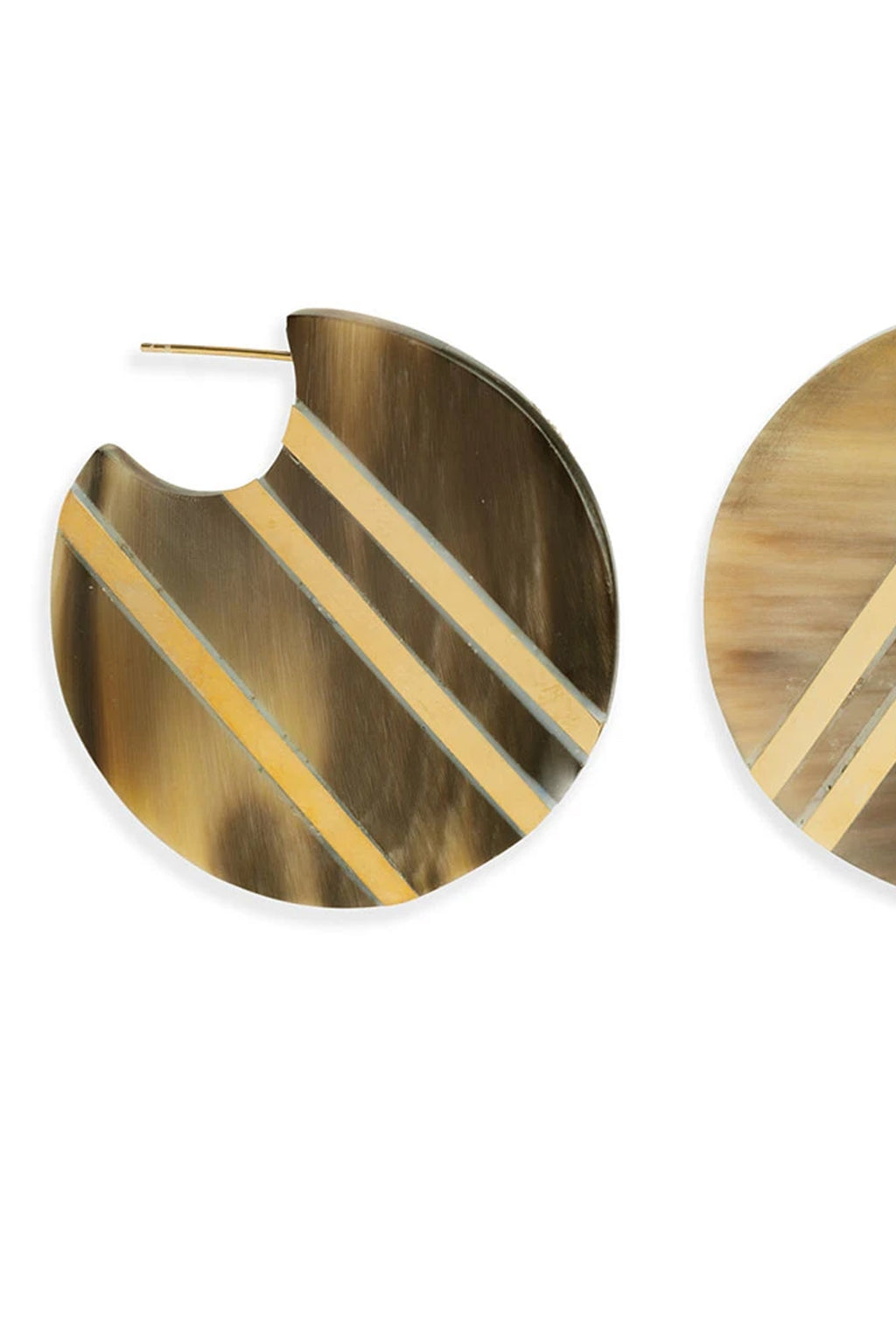 Soko Brass and Horn Stripe Circle Hoop Earrings