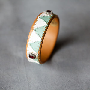 Robin Mollicone Trianagle Patchwork Leather Cuff