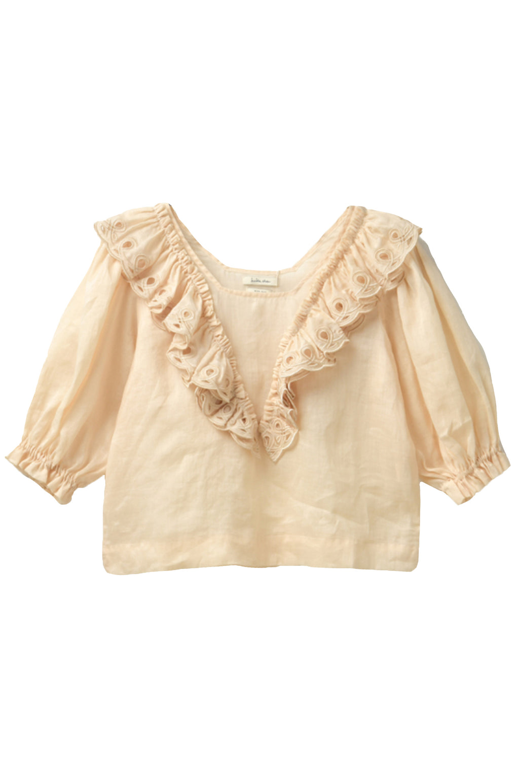Innika Choo Crop Frill Blouse in Cream Tan