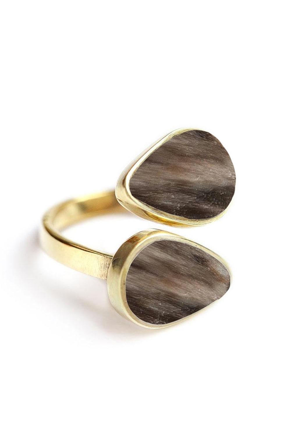 Soko Indra Horn Statement Ring in Brass/Natural