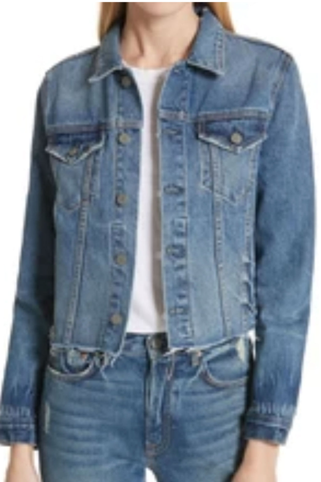 GRLFRND Crop Cara Denim Jacket in London Calling