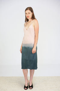 Jill Aiko Yee Hand Dipped Harmony Bias Dress in Pink to Grey