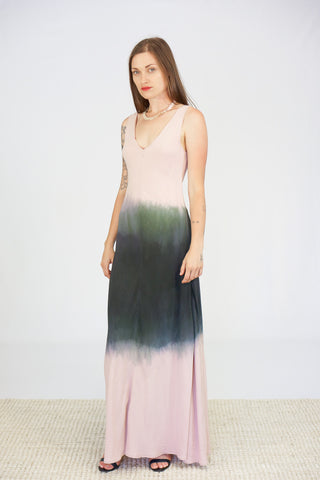 Jill Aiko Yee Hand Dipped Turning Dress in Pink to Grey