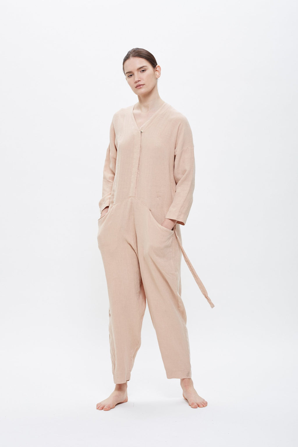 Black Crane Painter Jumpsuit in Peach