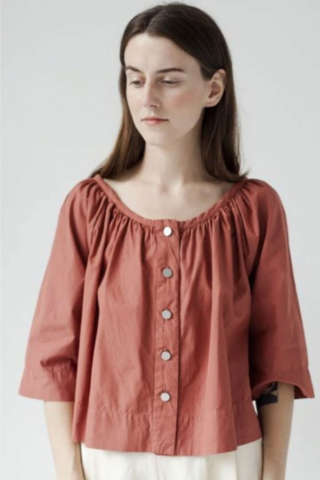 Atelier Delphine Millie Blouse in Bordeaux Poplin