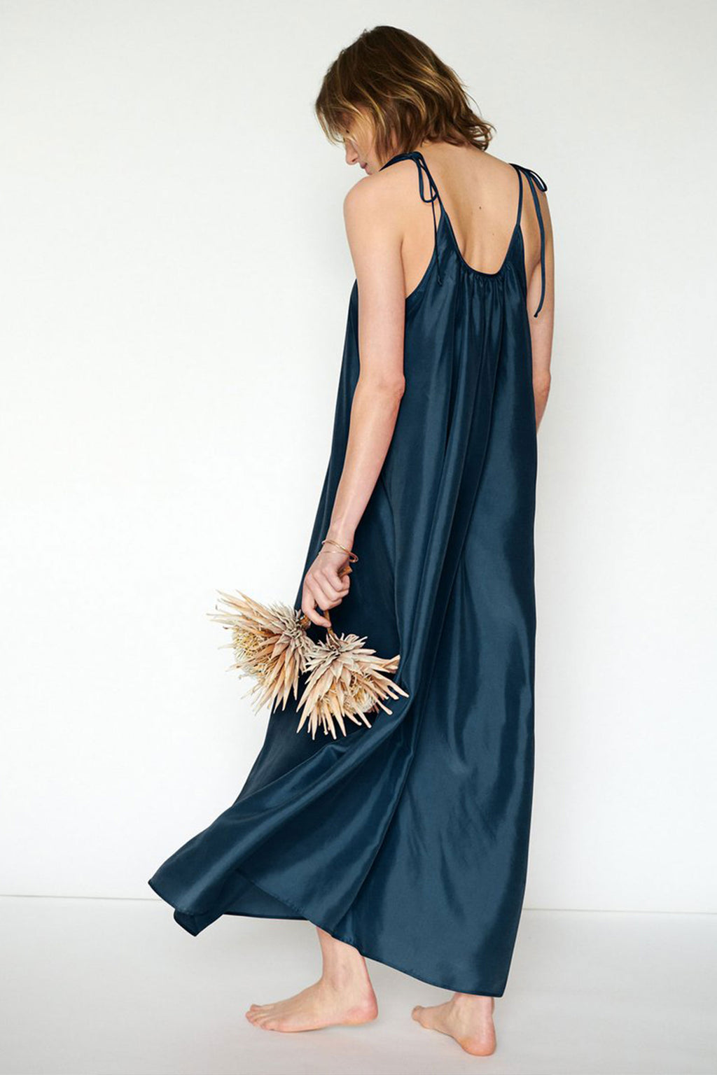 Loup Charmant Maxi Silk Slip Dress in Deep Ocean