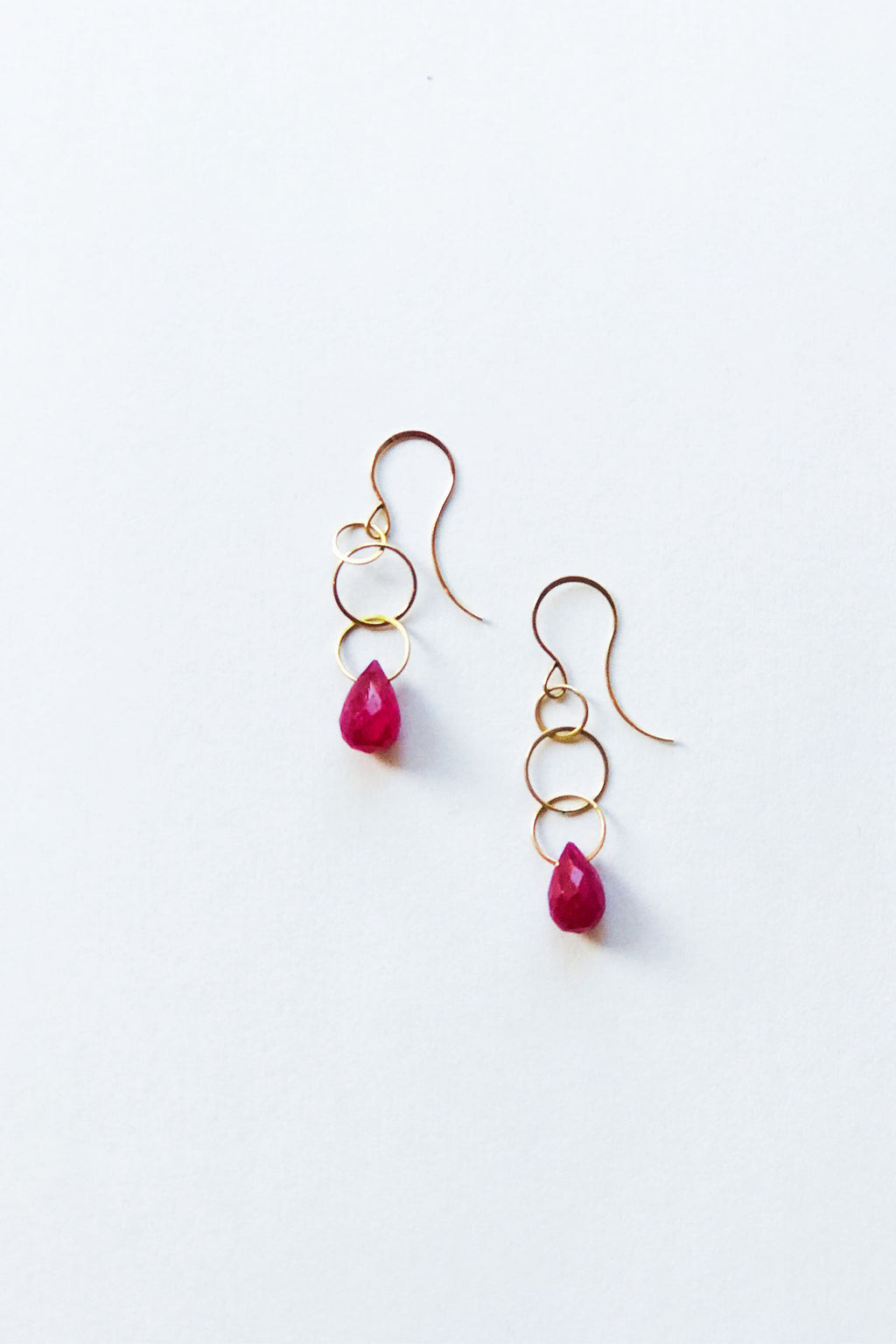 Melissa Joy Manning 14k Yellow Gold Ruby Single Drop Earrings
