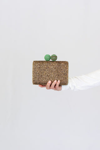 Maliparmi Hand Beaded Cuts and Bead Clutch in Gold/Green