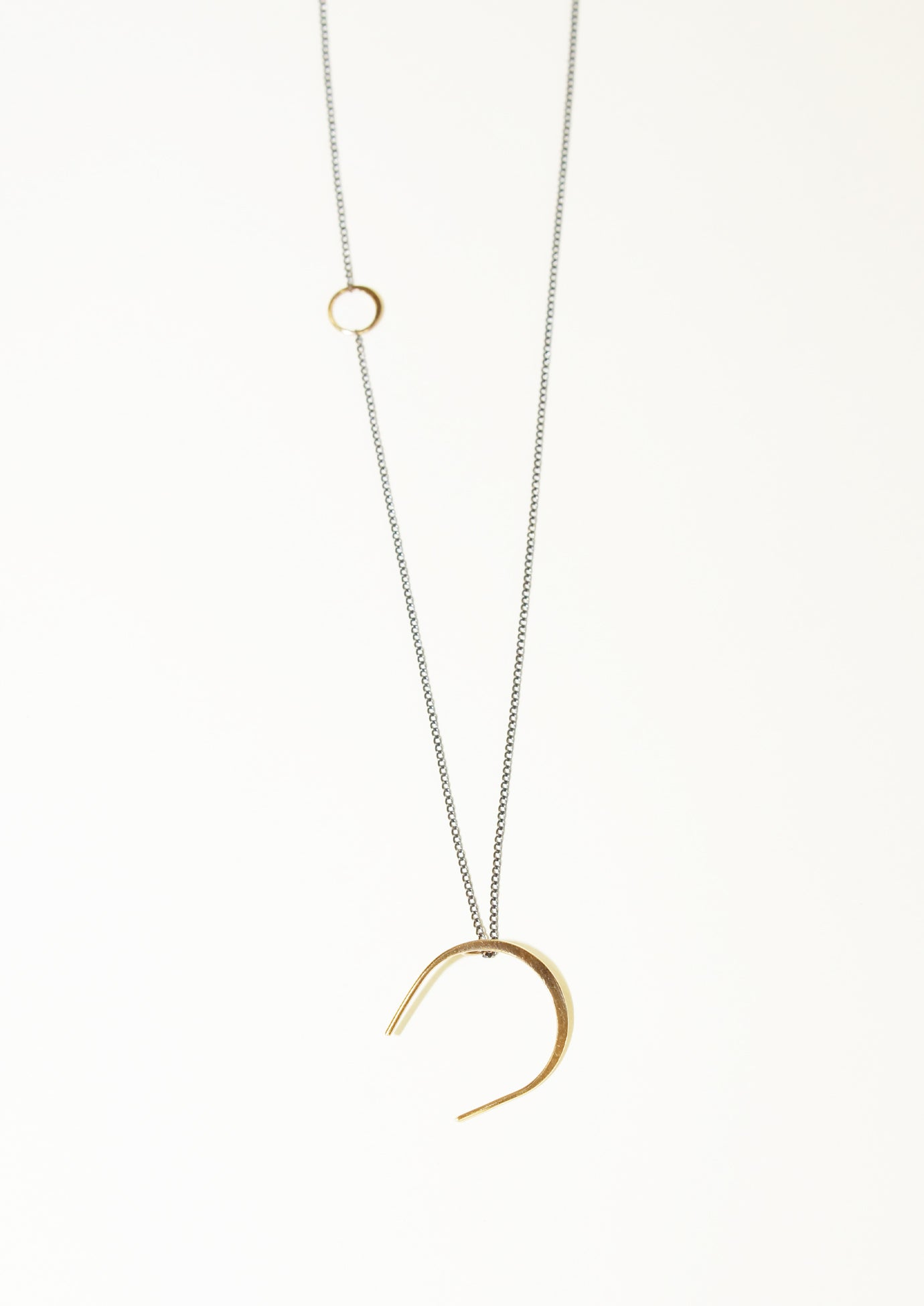 Melissa Joy Manning 14K Gold Horse Shoe Necklace with Oxidized Silver Chain