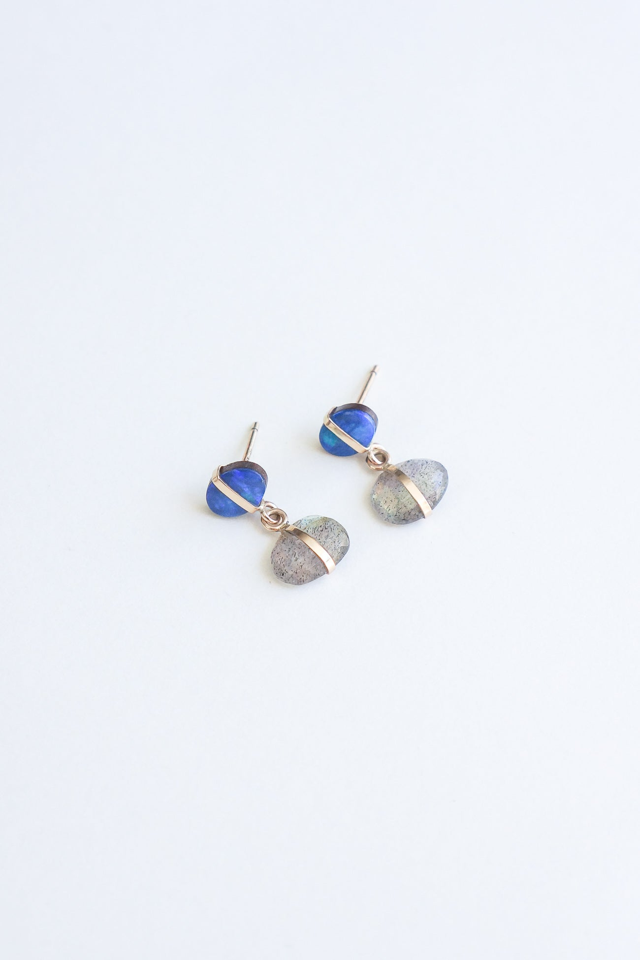 Melissa Joy Manning 14K Gold Bezel Labradorite and Australian Black Opal Drop Earring