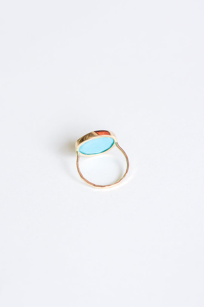 Melissa Joy Manning 14K Gold Ring with Bezel Freeform Turquoise Cabochon