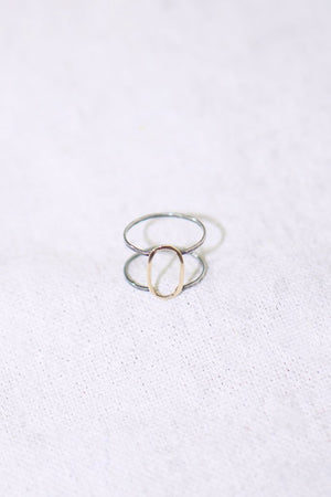 Melissa Joy Manning 14k Y Gold + Sterling Silver Double Band Gold Oval Ring
