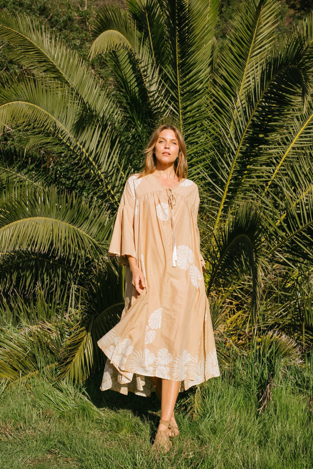 Natalie Martin Fernanda Dress in Tan Batik