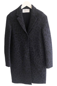 Harris Wharf Boiled Wool Cocoon Velvet Print in Navy Blue