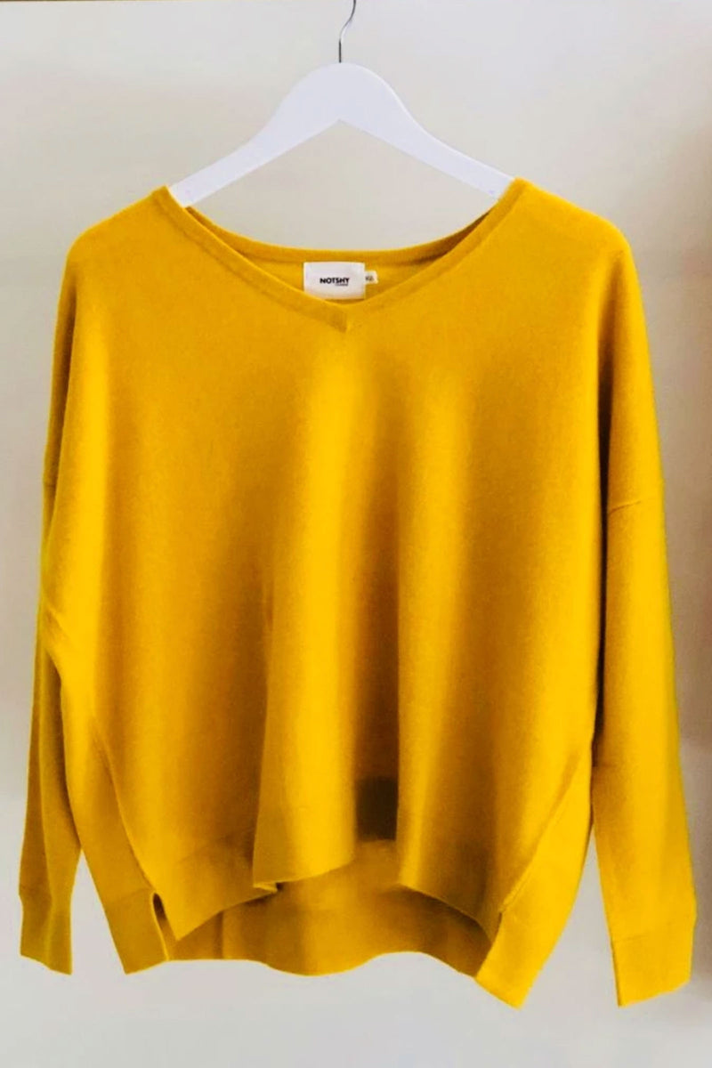 Not Shy Dalia Oversized V Neck Sweater in Tournesol