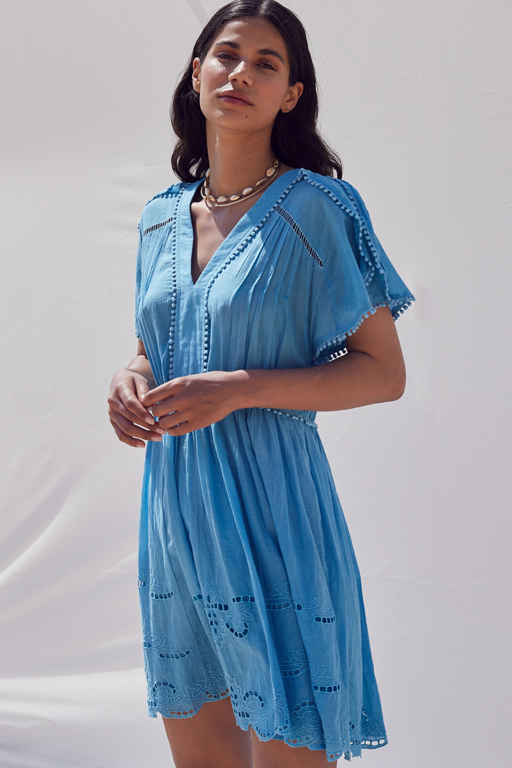 Not Shy Volant Dress in Azur Infini