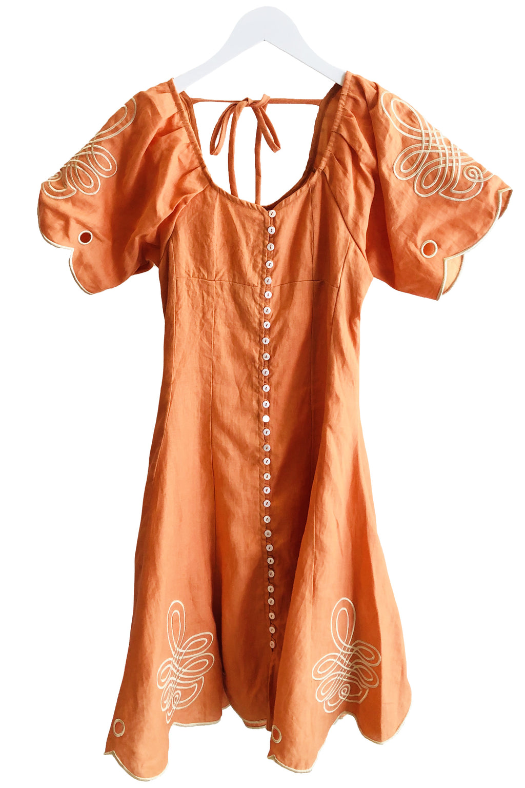 Innika Choo Linen Button Down Tea Dress in Cinnamon