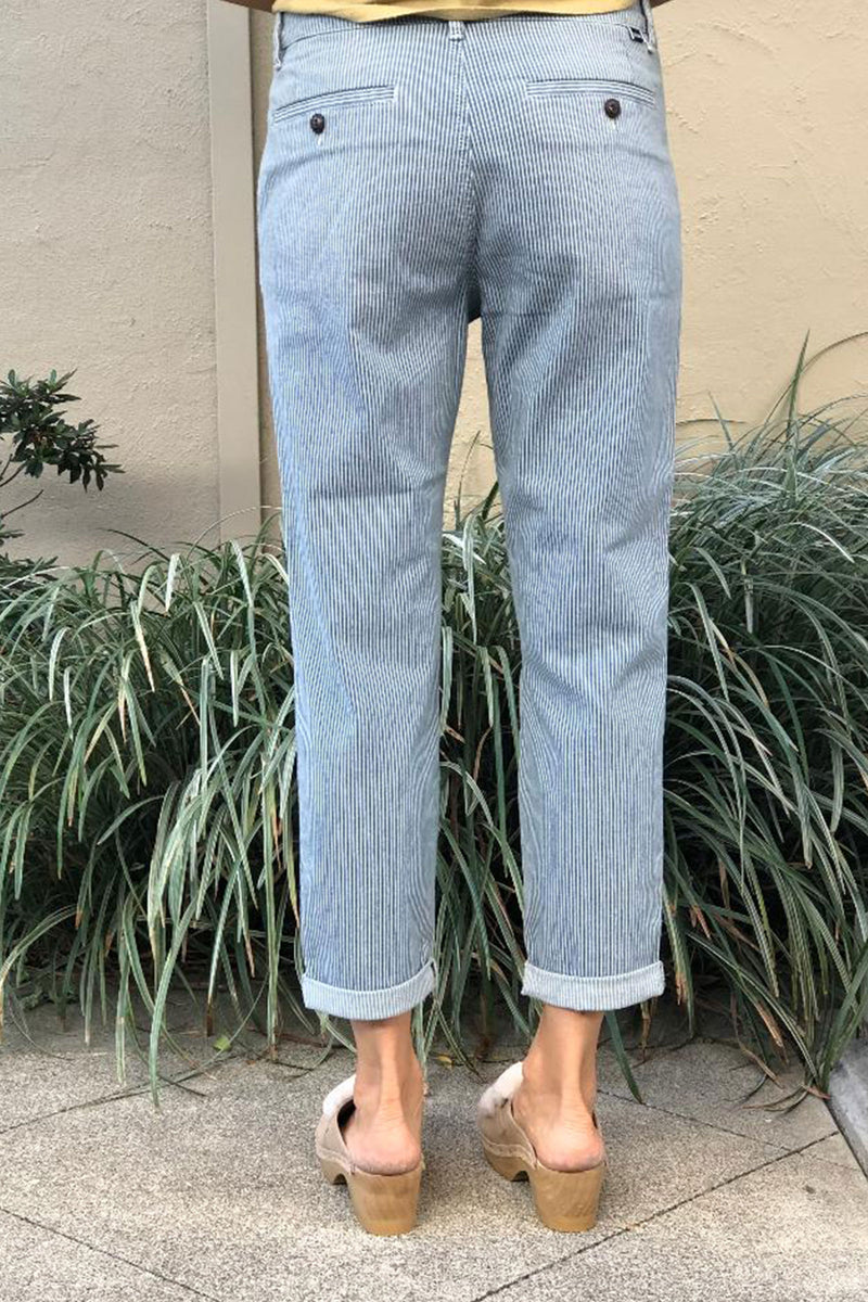 Reiko Scott Chinos in Indigo & White Railroad Stripe BACK