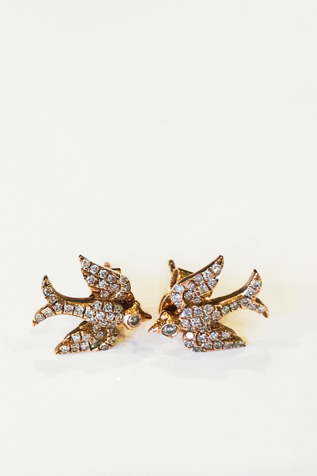 Pade Vavra 14k Rose Gold Diamond Dove Studs