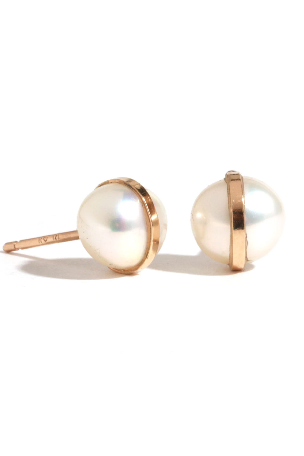 Melissa Joy Manning 14k Yellow Gold Pearl Post Earring