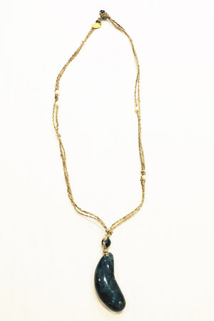 Forte Forte Long Braided Silk Natural Labradorite Necklace