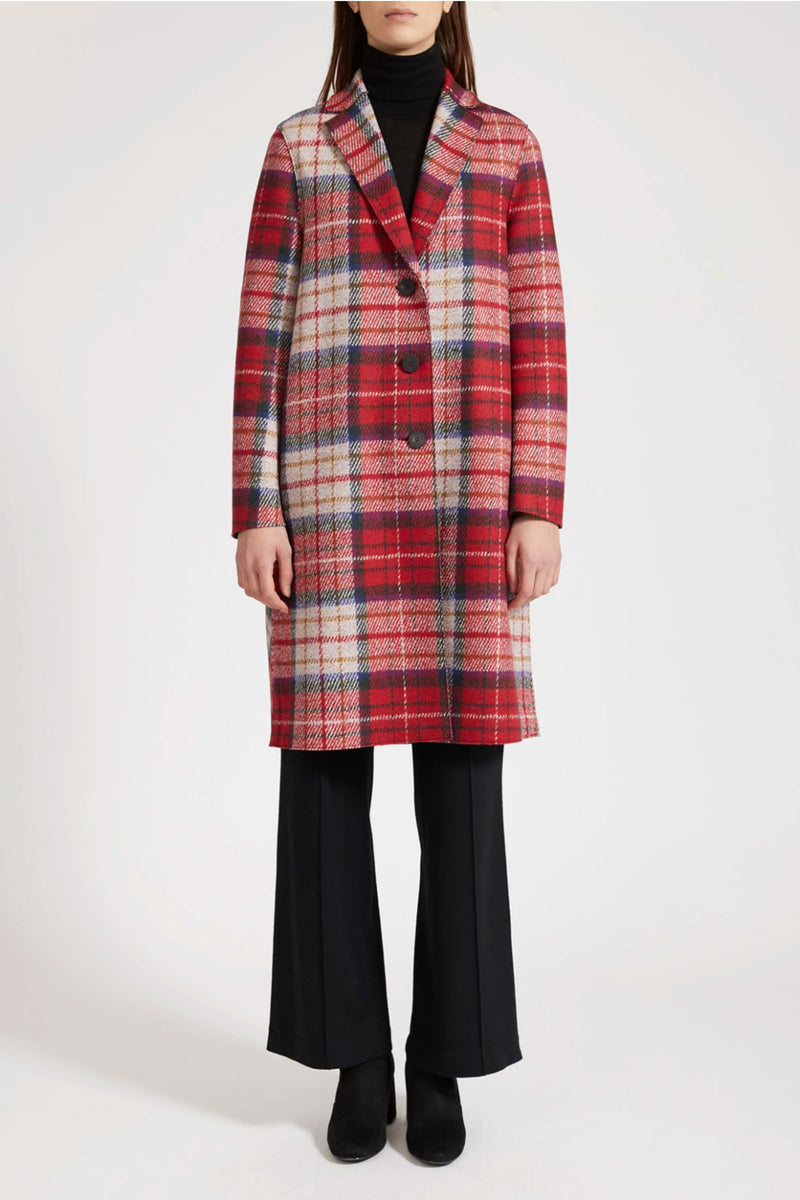 Harris Wharf London Oversize Fitted Sleeves Pressed Wool Tartan in Red