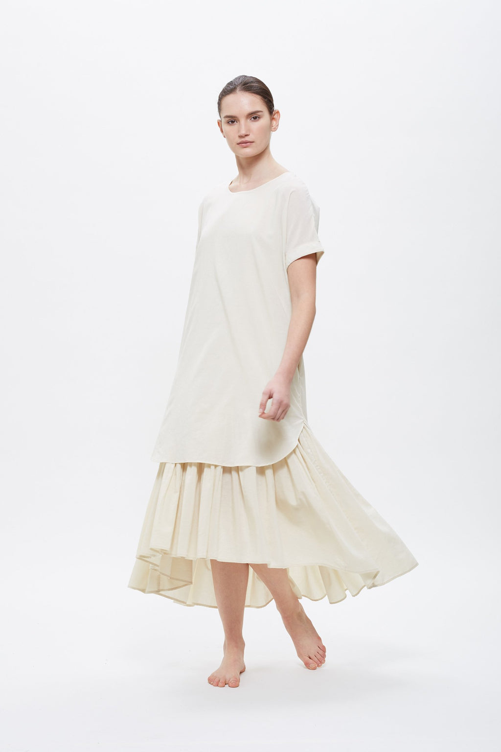 Black Crane Double Dress in Cream