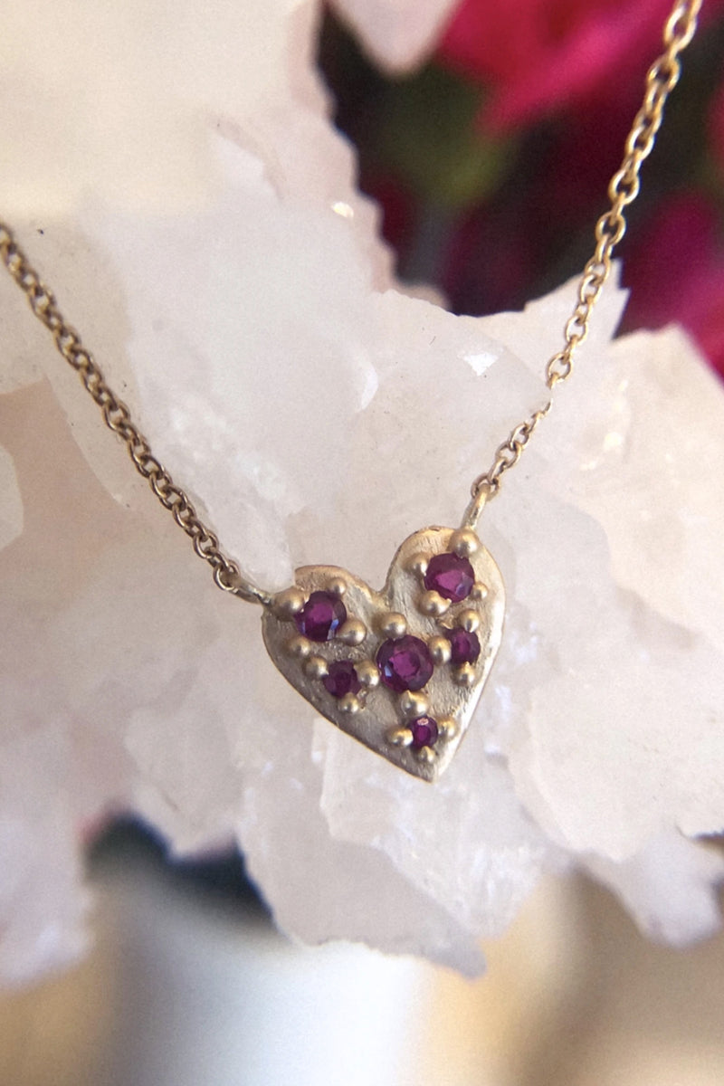 Valley Rose 14K Gold and Ruby Heart Necklace