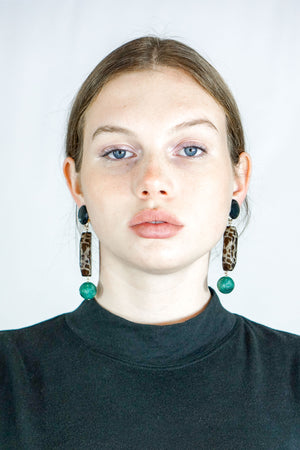 Rachel Comey Roundoff Dangle Clip On Earrings in Spotted Mint Marble