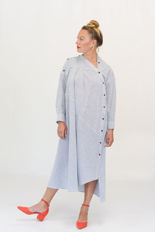 Rachel Comey Welcome Dress Seersucker in Black/White Stripe