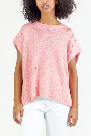 Raquel Allegra Square Vest Cable Knit Sweater in Pink Fleck