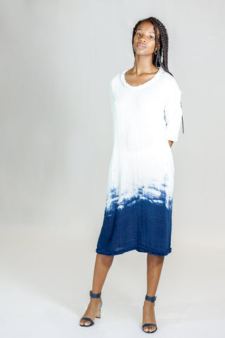 Raquel Allegra T-Shirt Dress Tie Dye Ombre in Blues