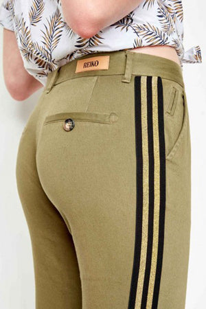 Reiko Chinos in Sandy Kaki with Black & Gold Stripe back detail