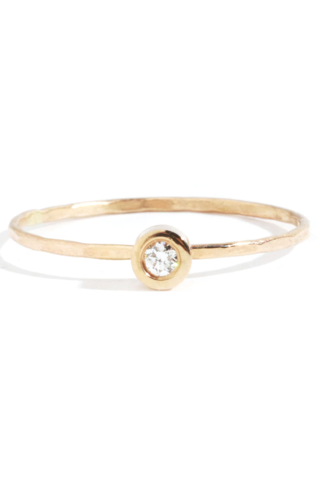 Melissa Joy Manning 14k Yellow Gold Flush Set White Diamond Ring