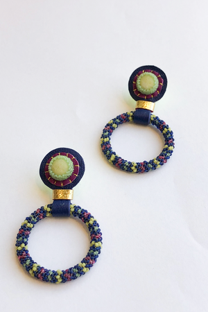 Robin Mollicone Hoop Earrings in Blue with Olive Jade