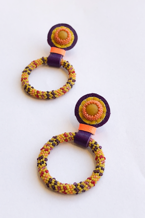 Robin Mollicone Hoop Earrings in Yellow with Yellow Jasper