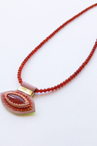 Robin Mollicone Charm Necklace in Red and Pink Carnelian