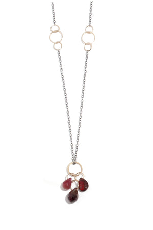 Melissa Joy Manning 14k Gold and Sterling Silver Garnet, Ruby and Garnet Three Drop Pendant Necklace