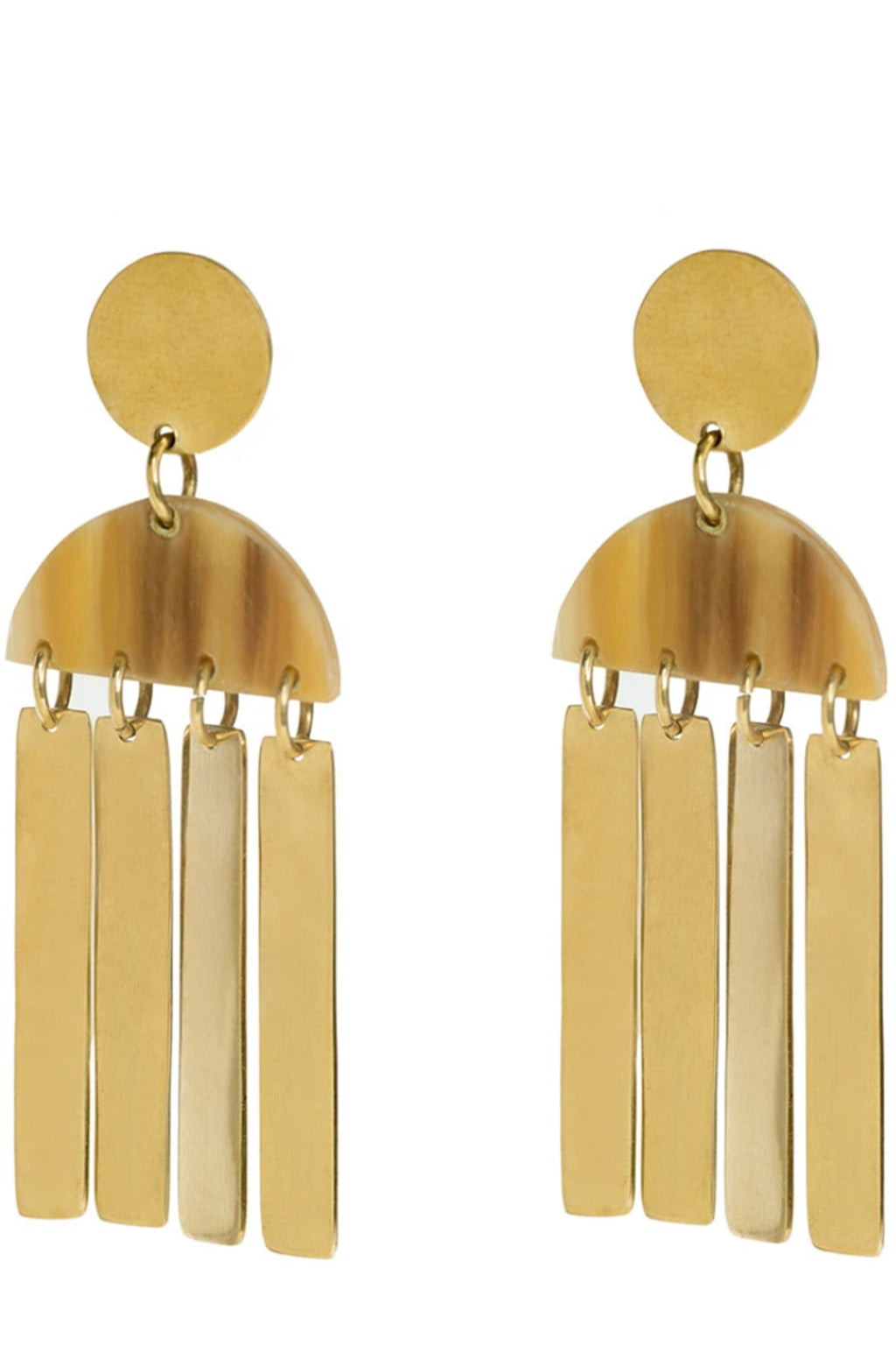 Soko Maxi Horn Cala Earrings in Brass/Natural