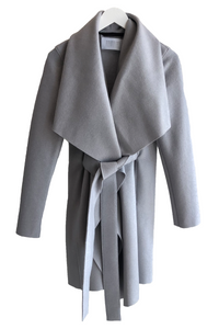 Harris Wharf Pressed Wool Blanket Coat in Silver