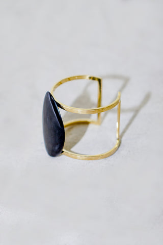 Soko Sabi Horn Cuff in Brass and with Black Pendent