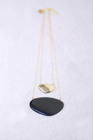 Soko Layered Sabi Necklace with Black Pendent