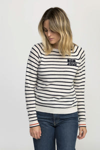 Trovata Renee Cashmere Crewneck Sweater In Bonjour Stripe