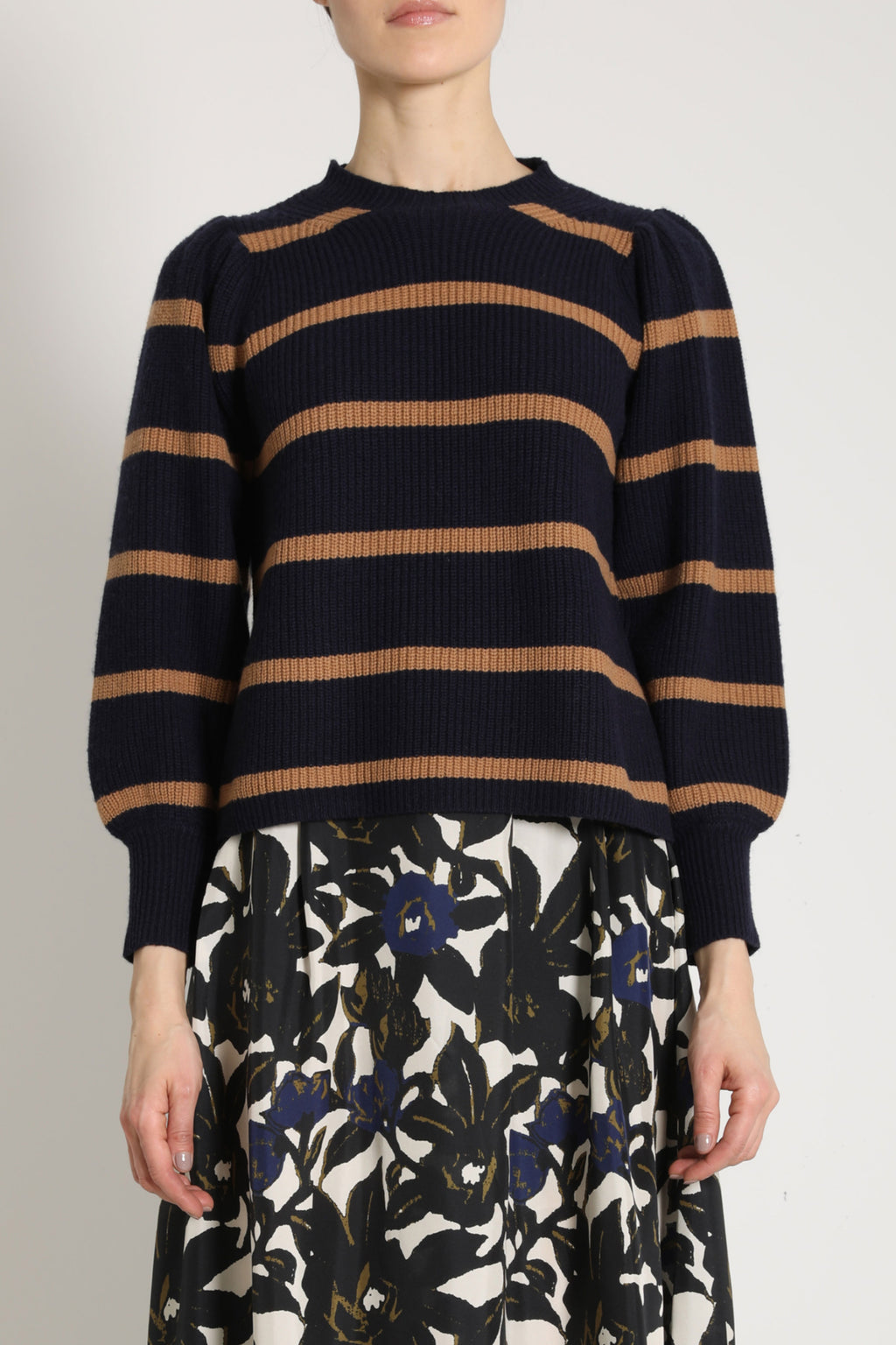 Apiece Apart Arne Puff Sleeve Sweater in Navy