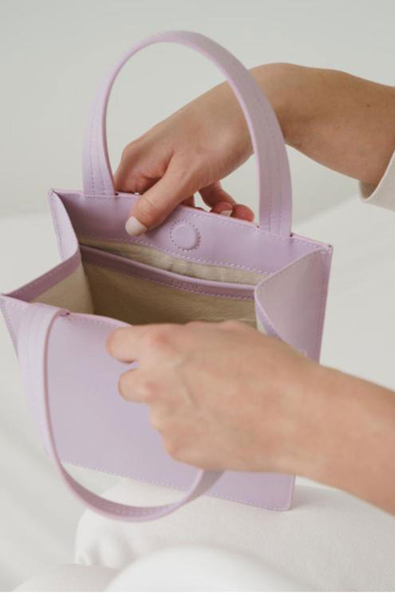 Baggu Small leather Retail Tote in Orchid