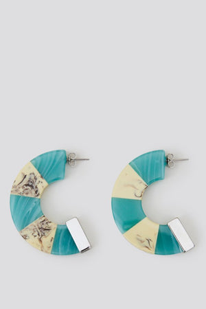 Rachel Comey Tabby Hoop Earrings in Turquoise-White Marble